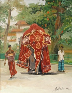 Elephant in festive clothes. Kandy