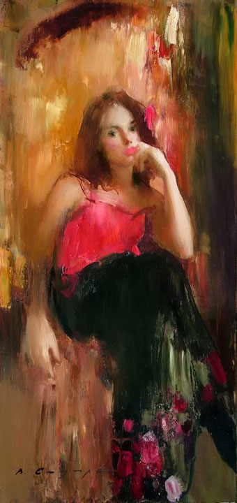 Contemplation, Vitold Smukrovich- painting, the girl at the window, a red dress, impressionism