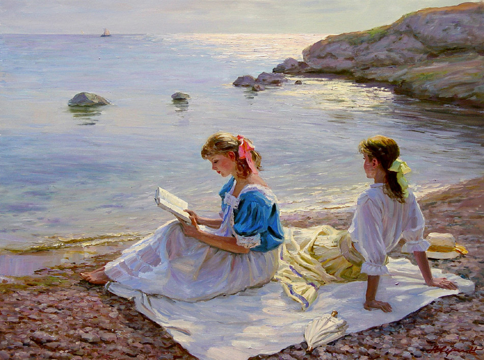 On the Baltic coast (to order), Alexandr Averin- genre painting modern impressionism, girl, book