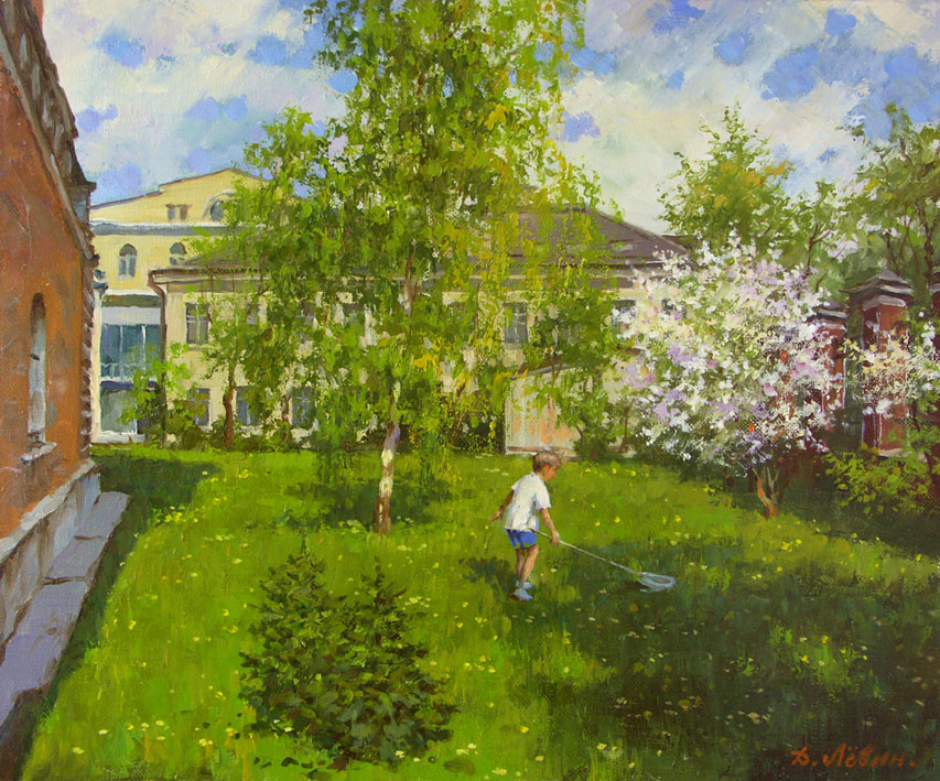 Spring on Basmannaya Street. Moscow, Dmitry Levin- Moscow, courtyard, boy with a butterfly net, cityscape paint