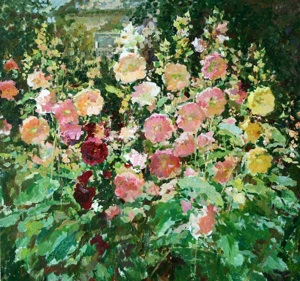 Hollyhocks in a garden