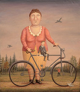 The girl with the bicycle and the man