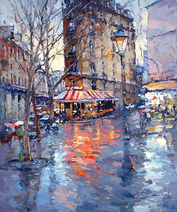 Evening, rain, Alexi Zaitsev- Parisian cityscape in impressionistic style, painting