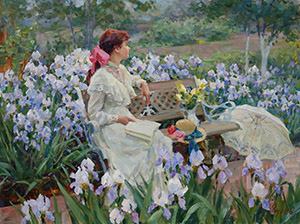 In the garden. Among the irises