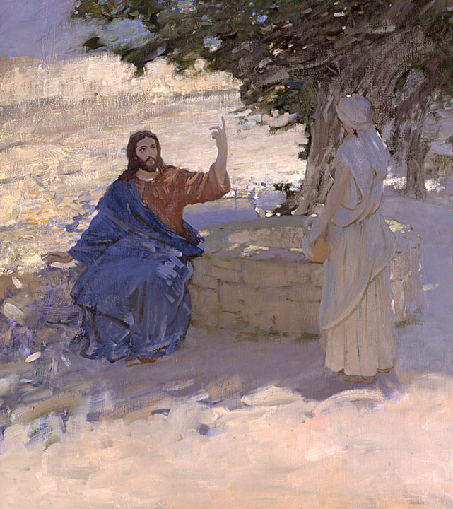 Living Water, Bato Dugarzhapov- painting with Jesus at the well, genre work