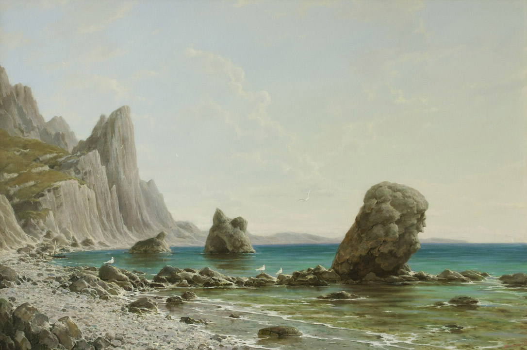 Summer day. At the foot of the Kara-Dag, George Dmitriev- painting, Crimea, rocky shore, seagulls, seascape