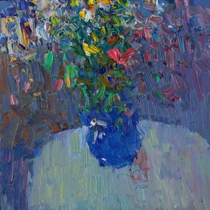 Flowers in the dark blue vase