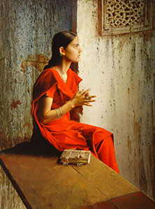 The girl in the red sari
