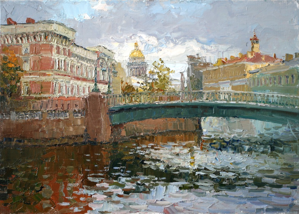 Kisses Bridge. St. Petersburg, Sergei Lyakhovitch- painting, St.Petersburg, river, bridge, St.Isaac's Cathedral