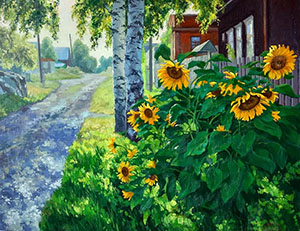 Sunflowers on the street