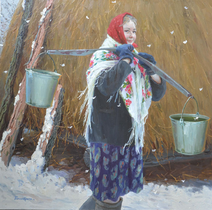 Goes to fetch water, Evgeny Balakshin- painting, fresh, snow, pure nature, human soul