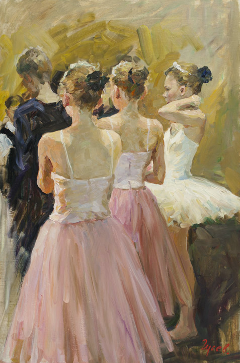 Behind the scenes, Vladimir Gusev- painting, ballerina, ballet, stage, dance, emotion