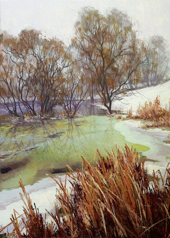 Thaw, Mikhail Brovkin- painting, river, snow, warm winter day, winter landscape
