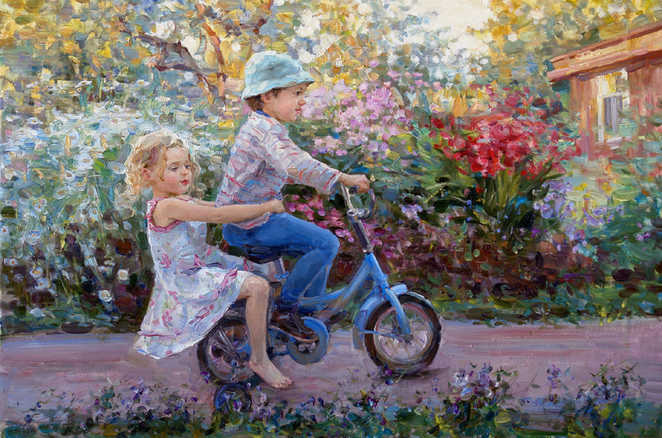 On the bicycle, Elena Salnikova
