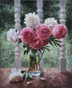 Peonies on the veranda