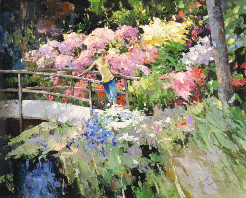 In the garden, Alexi Zaitsev- girl on the bridge, blooming garden, painting Impressionism