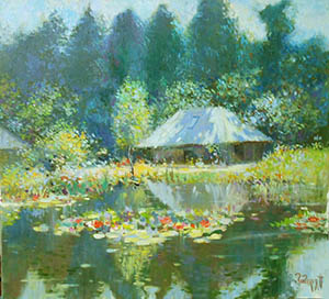 Sunny day, home, water lilies