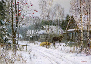 In winter in the village