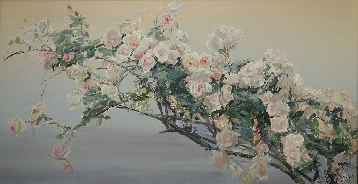 Variations on a Rococo Theme, Maria Sherbinina- Beautiful branches of pink roses, still life on the backgrou
