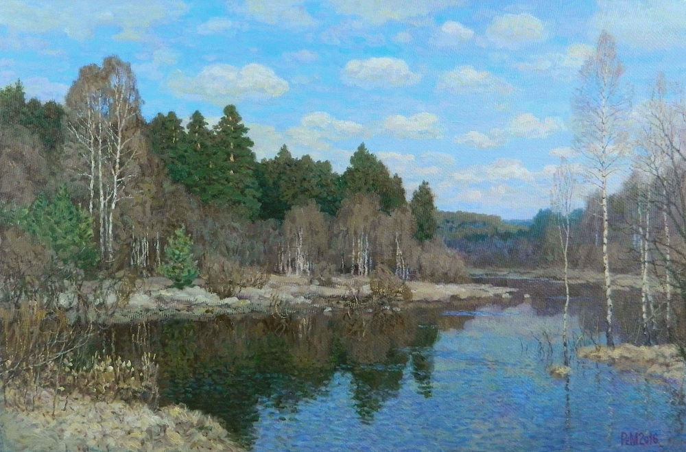 Paul River. April, Rem Saifulmulukov- painting, spring forest, the river, the awakening of nature