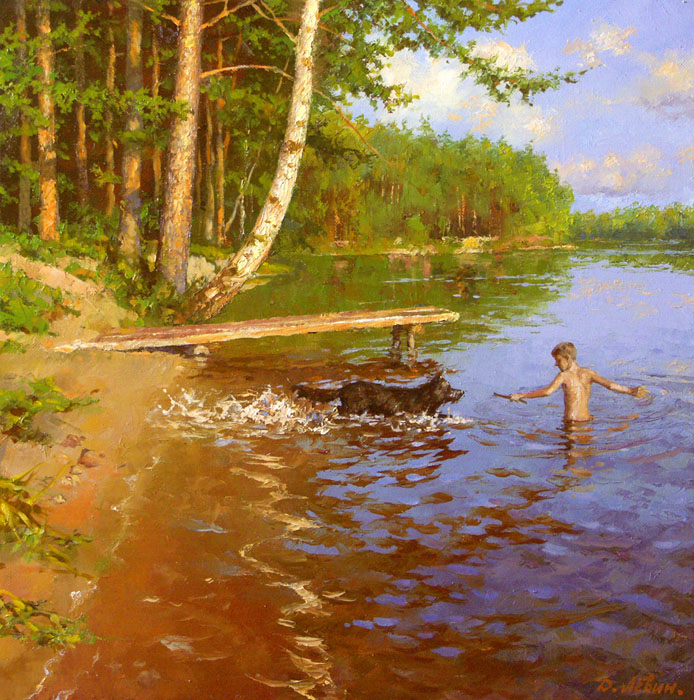 Games on the river, Dmitry Levin- river, boy playing with dog, bridge, pine