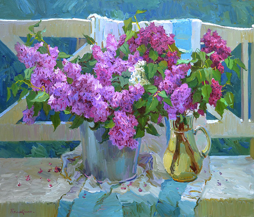 Lilac, Evgeny Balakshin- bouquets of lilacs, in a pail, a pitcher, painting, still li