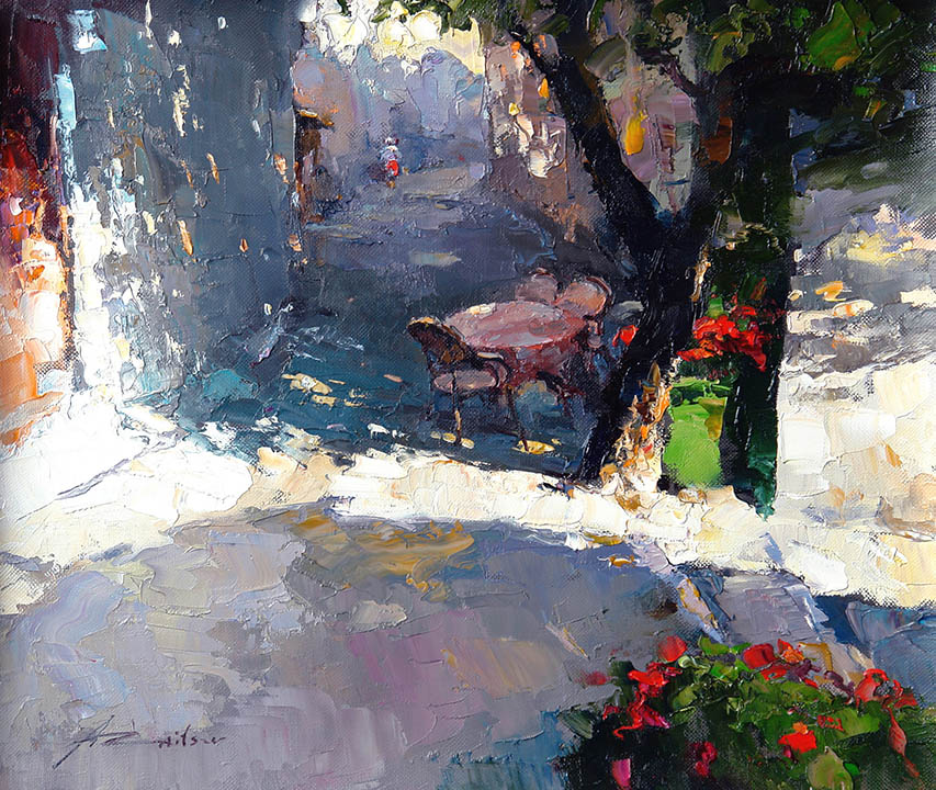 Cafe in the shadow, Alexi Zaitsev- European cityscape, old street, little table in the shade