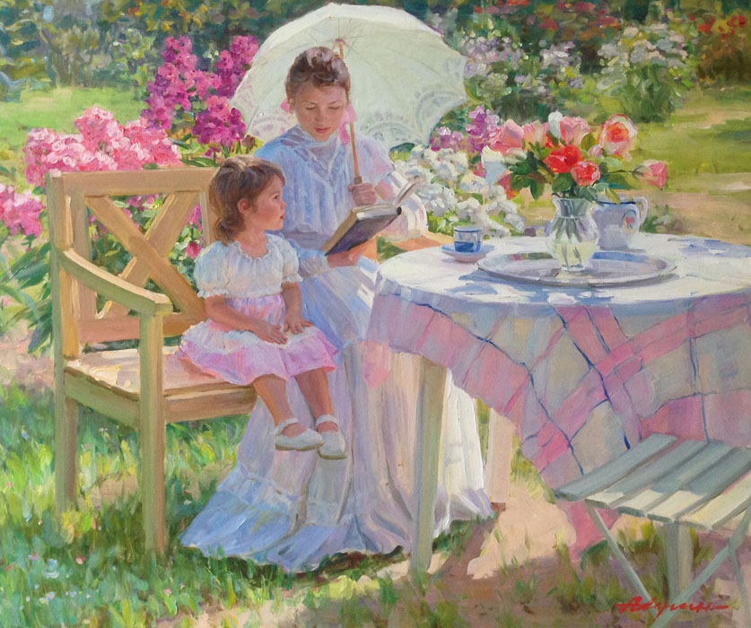 In the garden, Alexandr Averin- painting, mother and daughter, table, bench, flowers