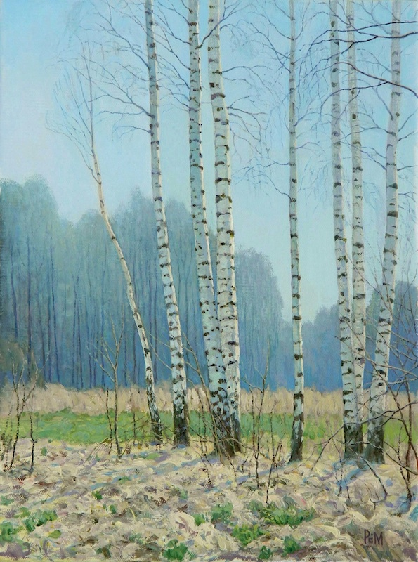 Young birch trees, Rem Saifulmulukov- painting, spring, forest, birch, first grass, realism
