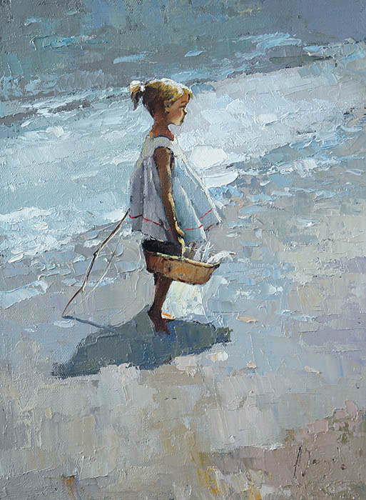 With the catch, Alexi Zaitsev- girl with the basket of fish, impressionism, painting