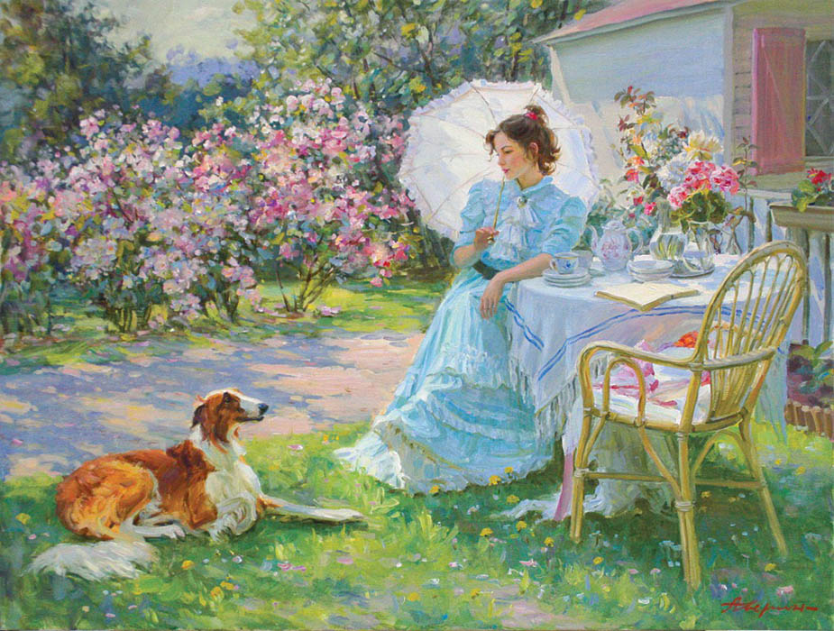 In the garden (to order), Alexandr Averin- flowers, young lady, dog, female portrait, impressionism