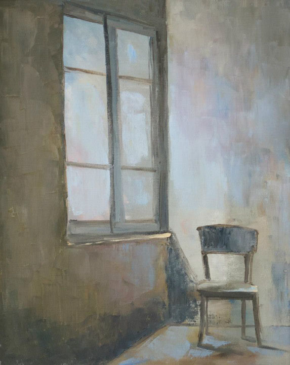 The Chair, Sergey Postnikov- philosophical painting, two walls, window, lone chair