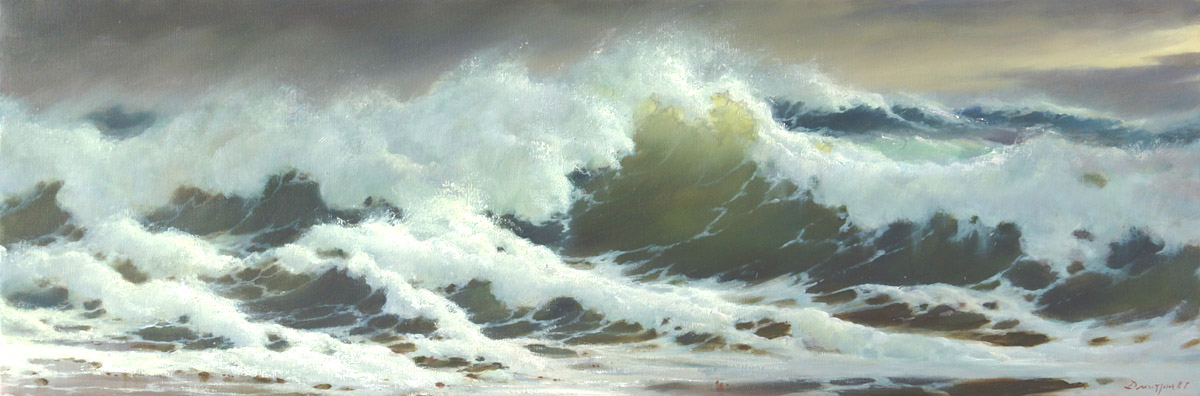 Wave on the shore, George Dmitriev- painting, seashore, big foamy wave, storm