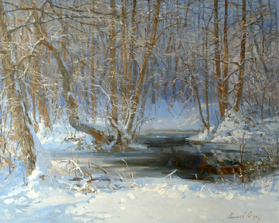 Small river Kireevka, Oleg Leonov- painting winter river, forest, trees in the snow
