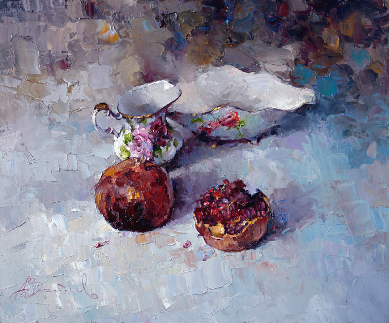 Still life with pomegranates, Alexi Zaitsev- fruit, salad bowl, tablecloth, table, milkman, pfinting