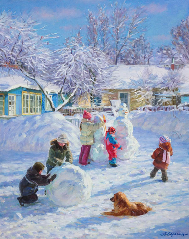 Winter in the yard, Alexandr Averin- winter landscape painting, impressionism, children, snowman