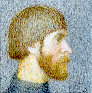 Self-portrait into a profil (the size is 0,9x0,9 cm)