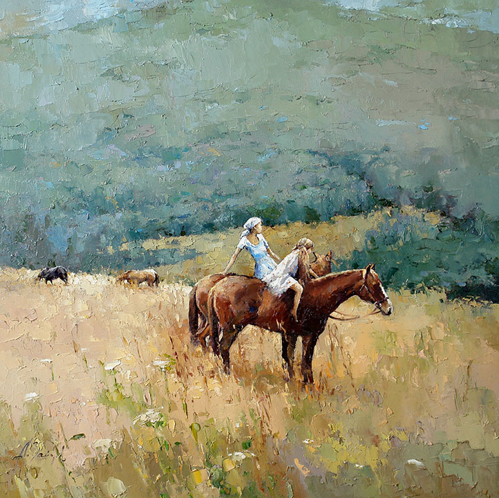 The end of the summer, Alexi Zaitsev- landscape with the girls on horseback, painting, impressioni