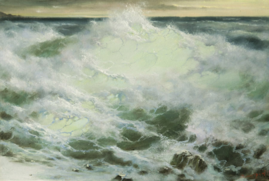 Wave and stones, George Dmitriev- small seascape, blue painting, realism