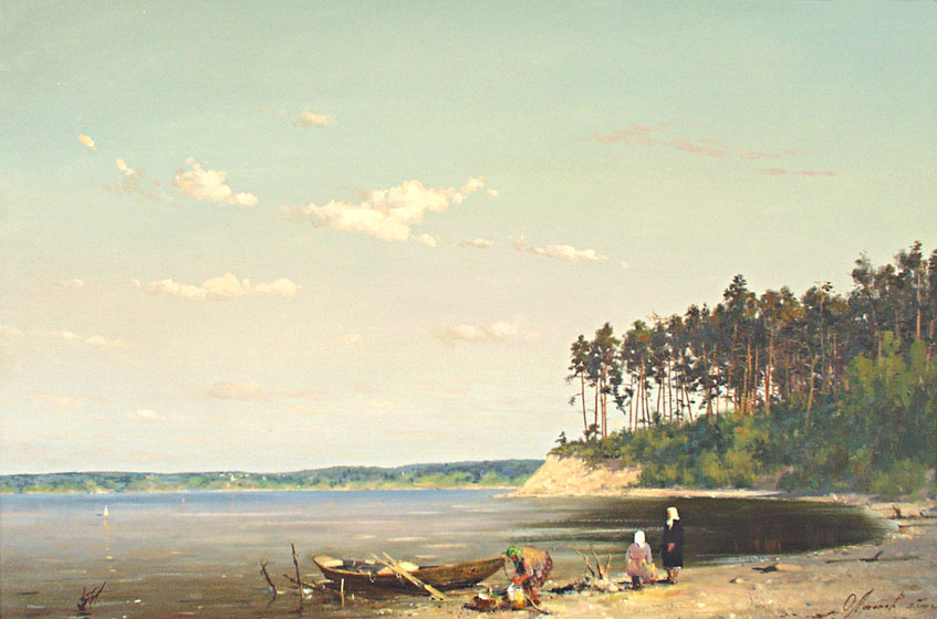"The mouth of river ""Vetluga"", Oleg Leonov- painting, river, boat, pine forest, summer day, landscape"