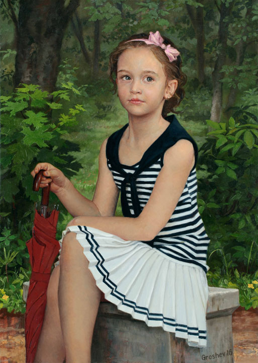 In the park, Slava Groshev- painting, portrait of a girl, umbrella, realism