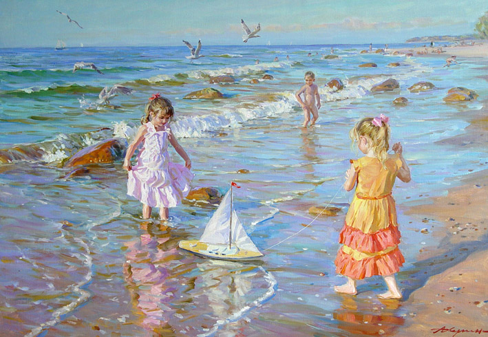 Girls on the seashore, Alexandr Averin- painting, children, sea, summer, boat, shore, impressionism