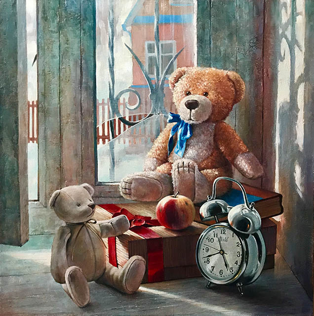 Waiting for a gift, Dmitri Annenkov- still life in landscape, toy bears, alarm clock