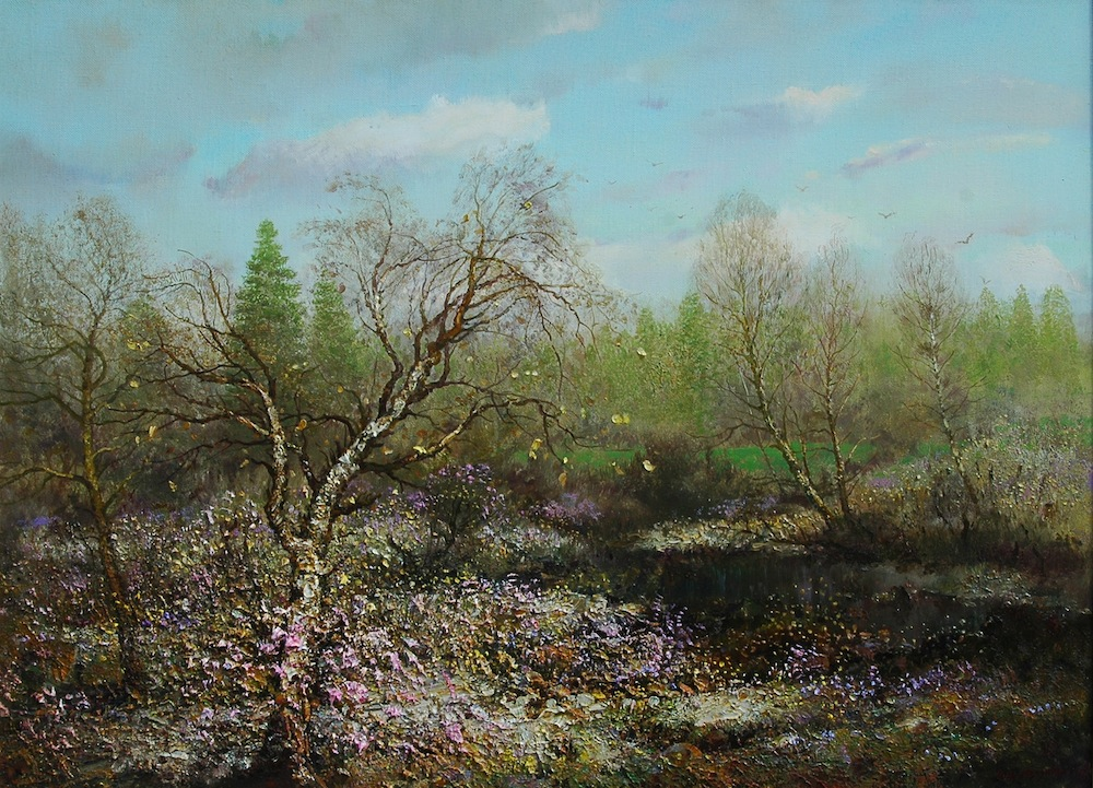 Pigweed, Konstantin Drugin- painting hot summer day, flower meadow a river in the forest
