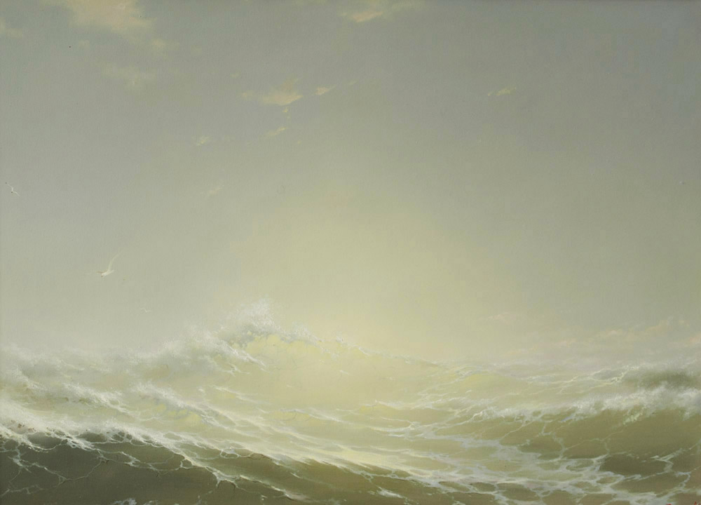 Wave and sun, George Dmitriev- seascape painting, realism, gull over the sea