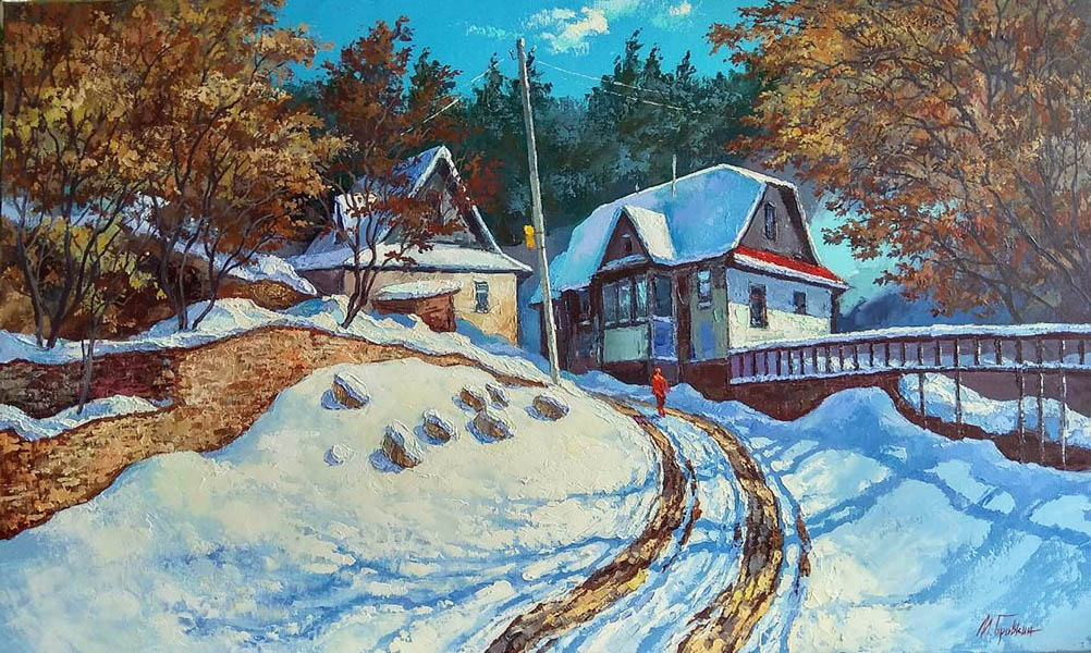 Spahn Valley, Mikhail Brovkin- painting, winter sunny day, rural houses, trees