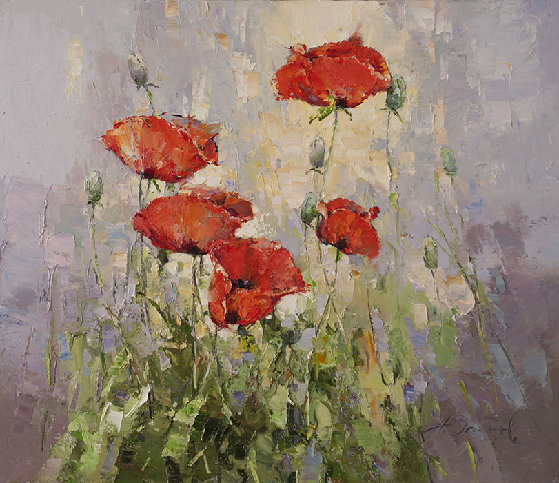 Poppies, Alexi Zaitsev- delicate red flowers, painting Impressionism