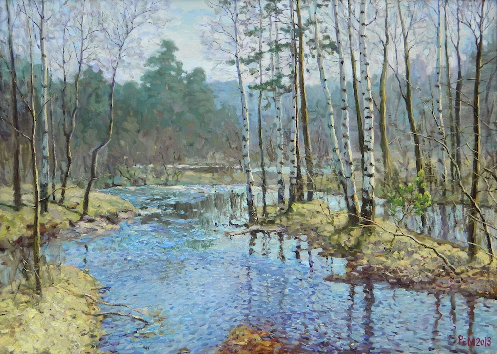 April #2, Rem Saifulmulukov- painting, spring forest, stream, birch, realism, landscape