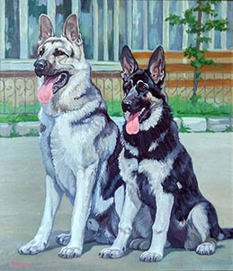 Portrait of two shepherd dogs (to order)