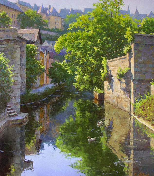 Sunny day at the Alzette. Luxembourg, Dmitry Levin- European city landscape, canal, duck, painting, art